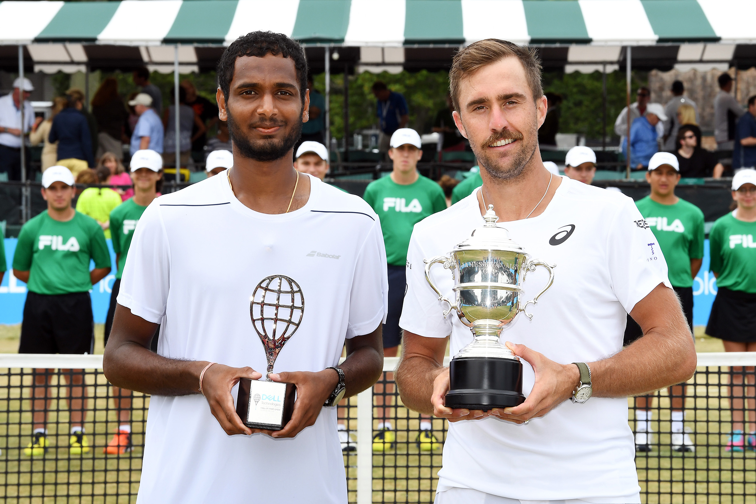 July 22, 2018 - Singles Champion Steve Johnson and finalist Ramkumar Ramanathan at the Dell Technologies Hall of Fame Open at the International Tennis Hall of Fame in Newport, Rhode Island. (Ben Solomon/ITHF)